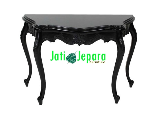 French Black Painted Console Table