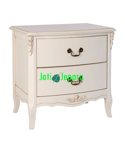 White Painted 2 Drawer Bedside