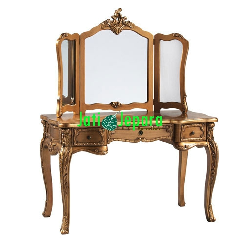 Gold Dressing Table, Gold Dressing Table With Mirror, Gold Dressing Table With Glass