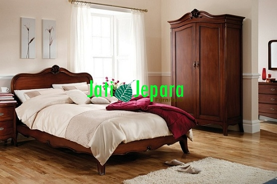 KAMAR SET PENGANTIN MEWAH Louis French Solid Mahogany Bedroom Furniture
