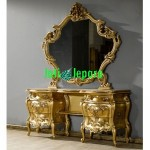 Dressing Table With Mirror Gold